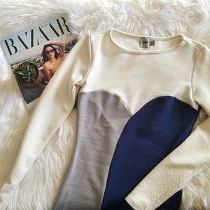 Asos Ivory blue Grey bodycon Long Sleeve dress